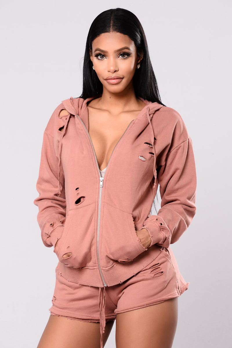 Doing Too Much Distressed Hoodie - Blush