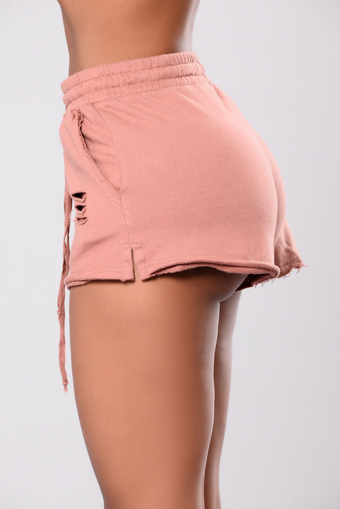 Doing Too Much Distressed Shorts - Blush