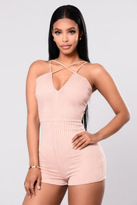 Cross My Love Romper - Nude