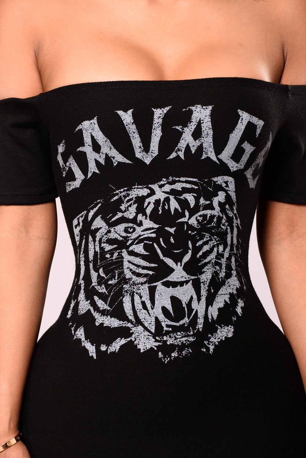 Savage Tiger Off Shoulder Dress - Black
