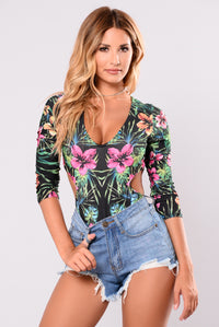 Tropical Dreams Bodysuit - Black/Floral