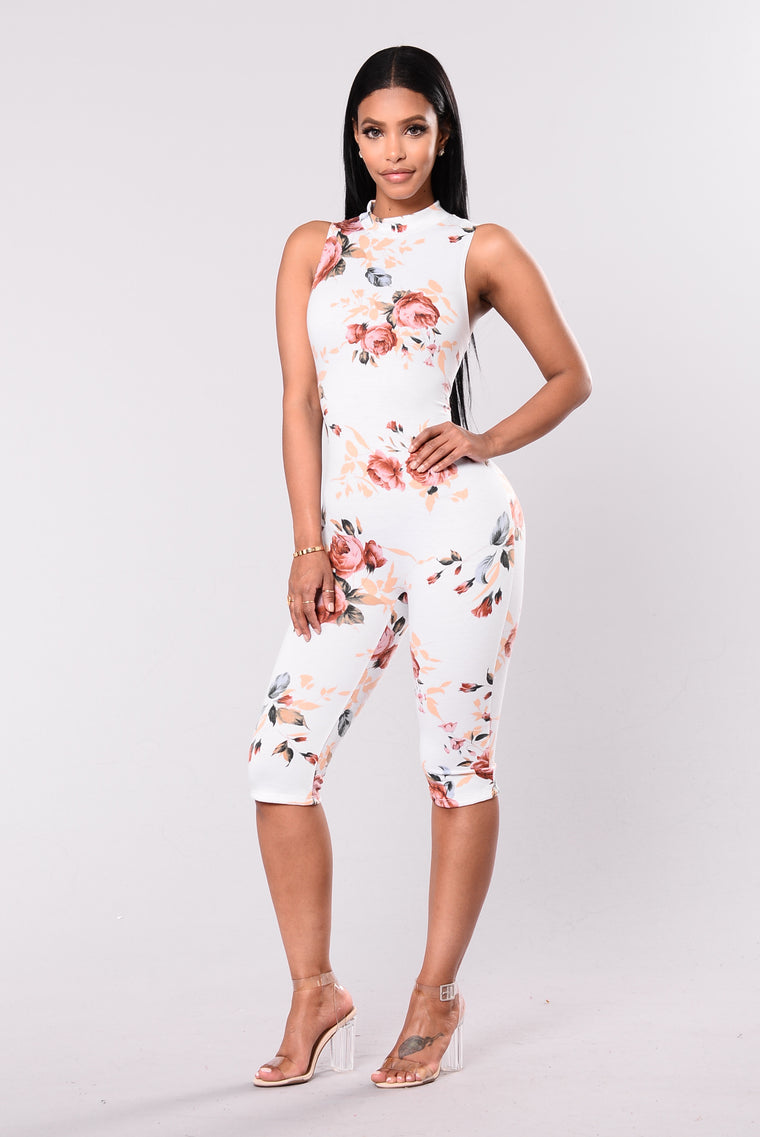 Carina Floral Jumpsuit - White