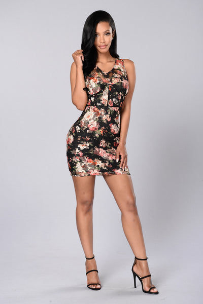 Flower Printed Dress - Black