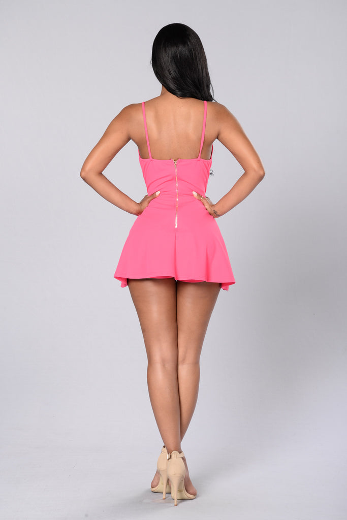 Girl Next Door Romper - Hot Pink
