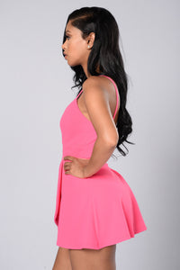 Girl Next Door Romper - Hot Pink Angle 3