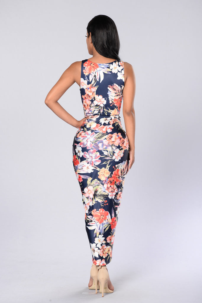 Go With the Floral Dress - Navy