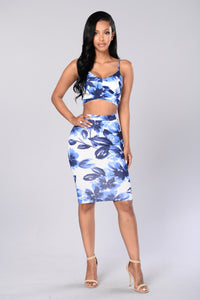 Flowered With Love Skirt - Blue