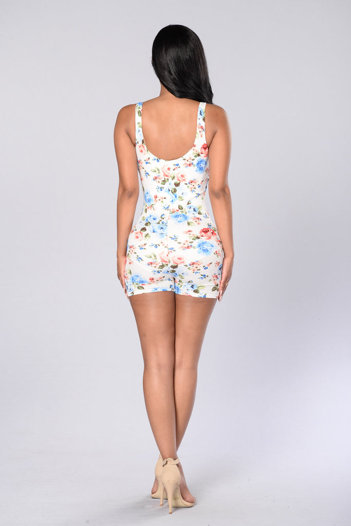 Spring Time Romper - White Multi