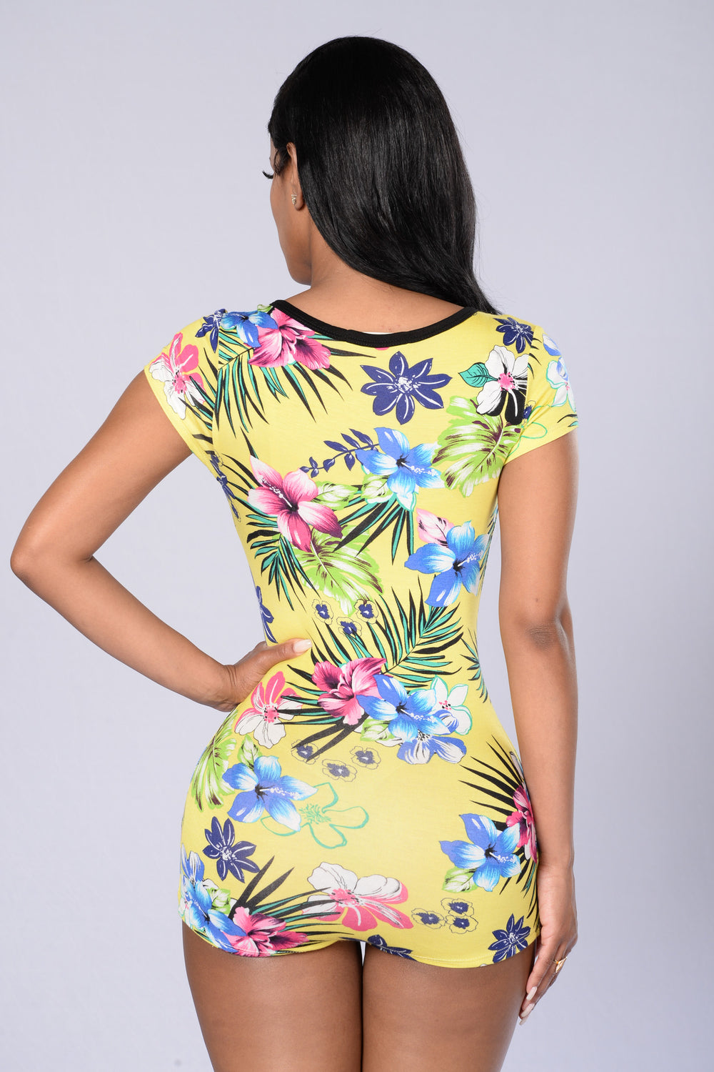 Its Finally Summer Romper - Yellow Floral