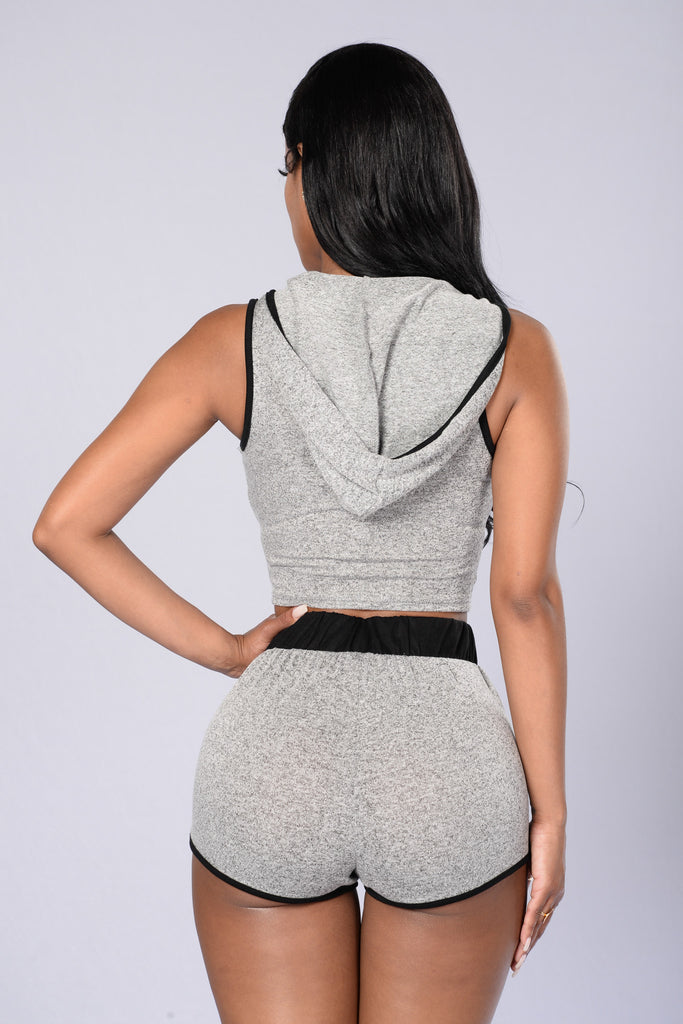 Go Hard Cropped Hoodie - Heather Grey