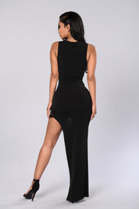 Maxi Asymmetric Dress - Black