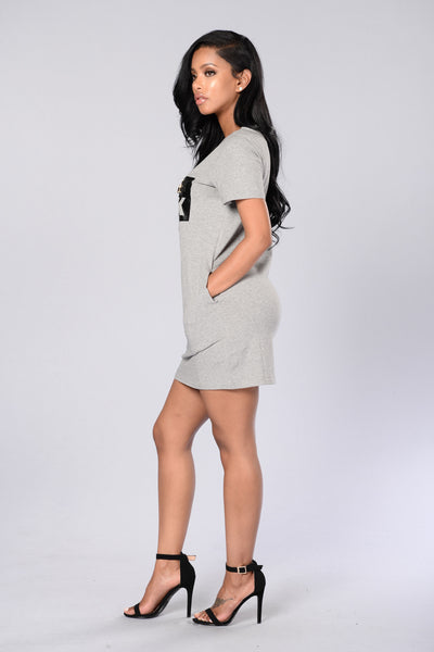 Chill With Me Dress - Heather Grey