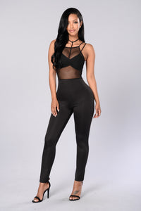 See Through Your Lies Jumpsuit - Black Angle 1
