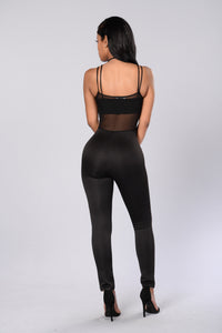See Through Your Lies Jumpsuit - Black