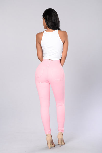 Super High Waist Denim Skinnies - Pink