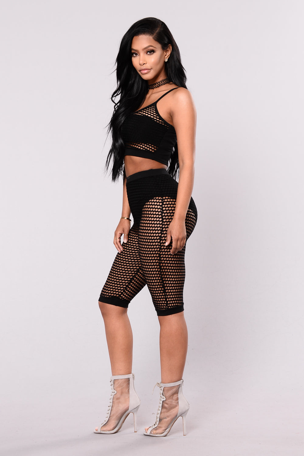Alaina Fishnet Crop Top - Black