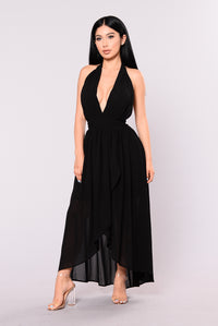 Noella High Low Dress - Black
