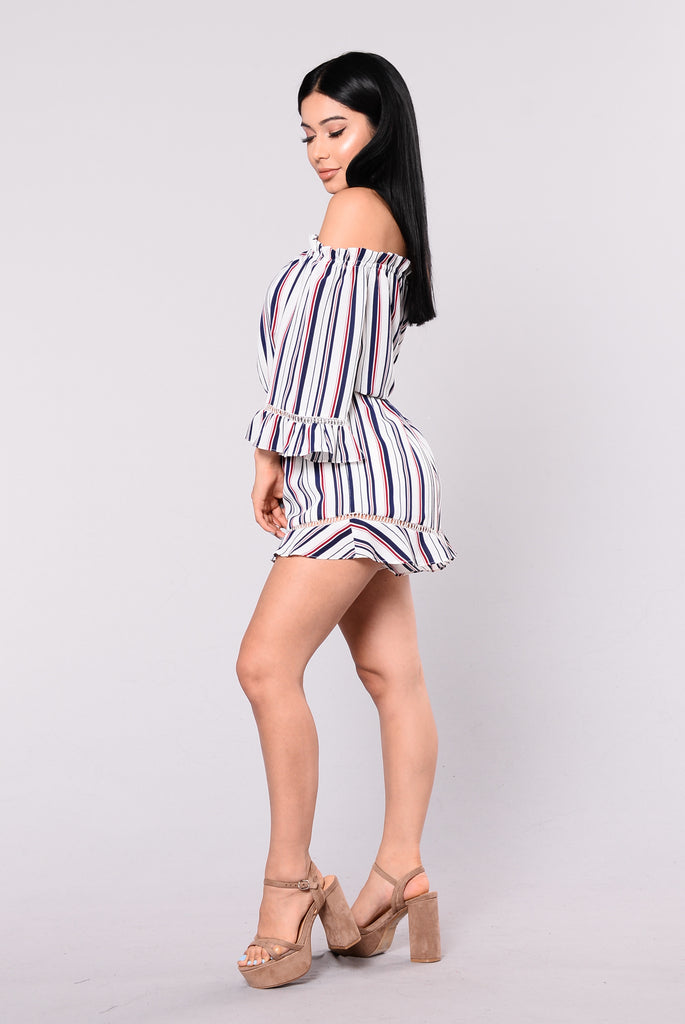 Remi Of The Shoulder Romper - White/Multi