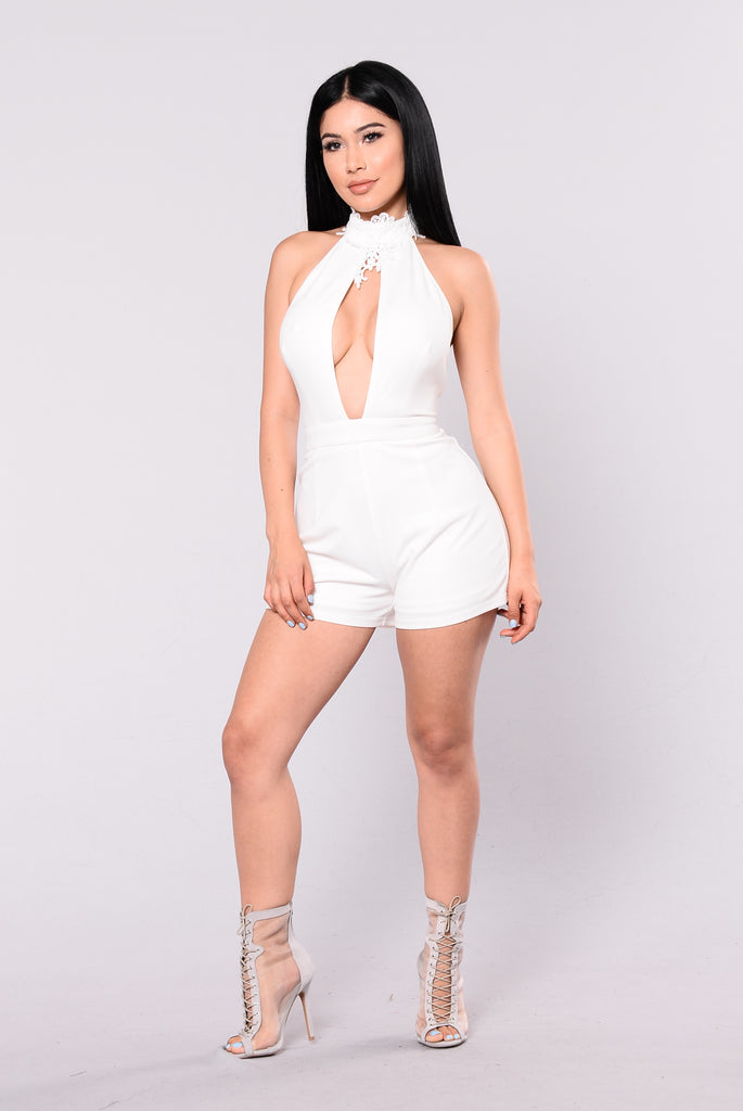 Love How You Lie Romper - White