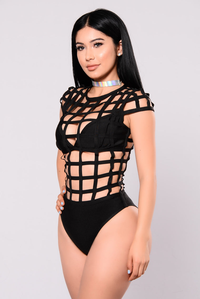 Cage Me Inside Sunsuit - Black