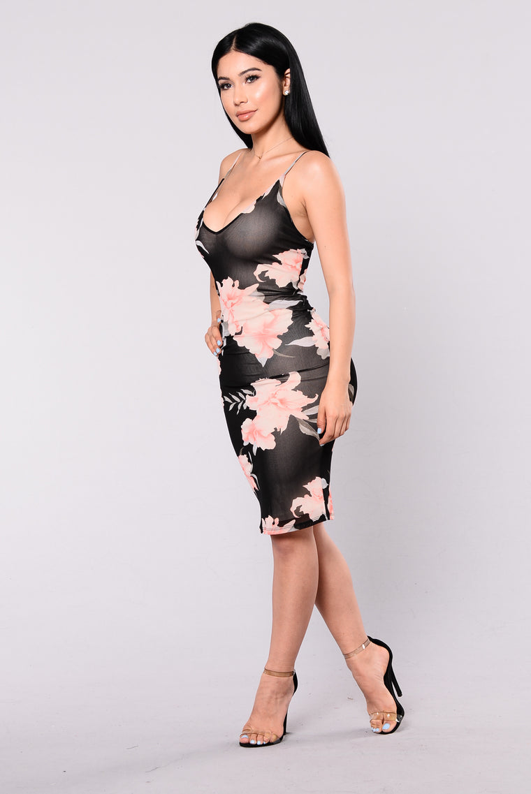 Imprinted On You Dress - Black Floral