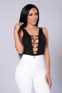 Yoga Fitted Bodysuit - Black Angle 1