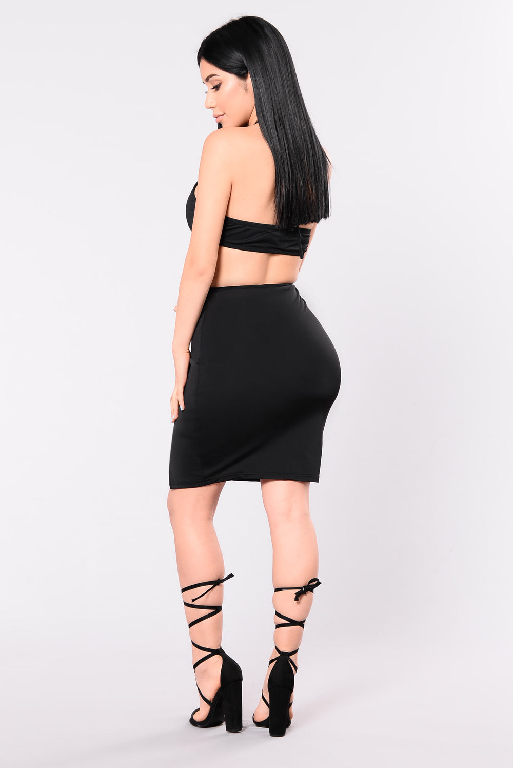 I'm Outside Halter Dress - Black