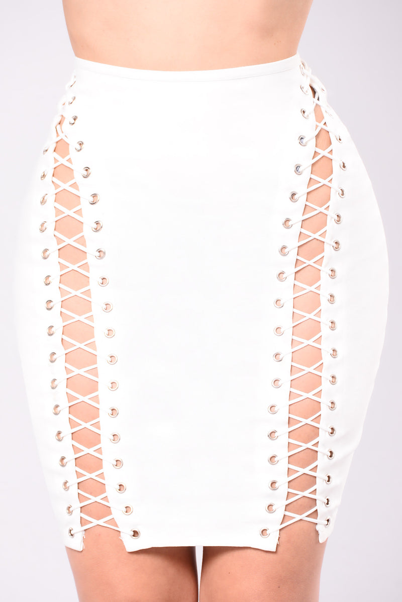 Camden Lace Up Skirt - White
