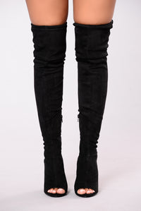 Mara Peep Toe Over The Knee Boot - Black