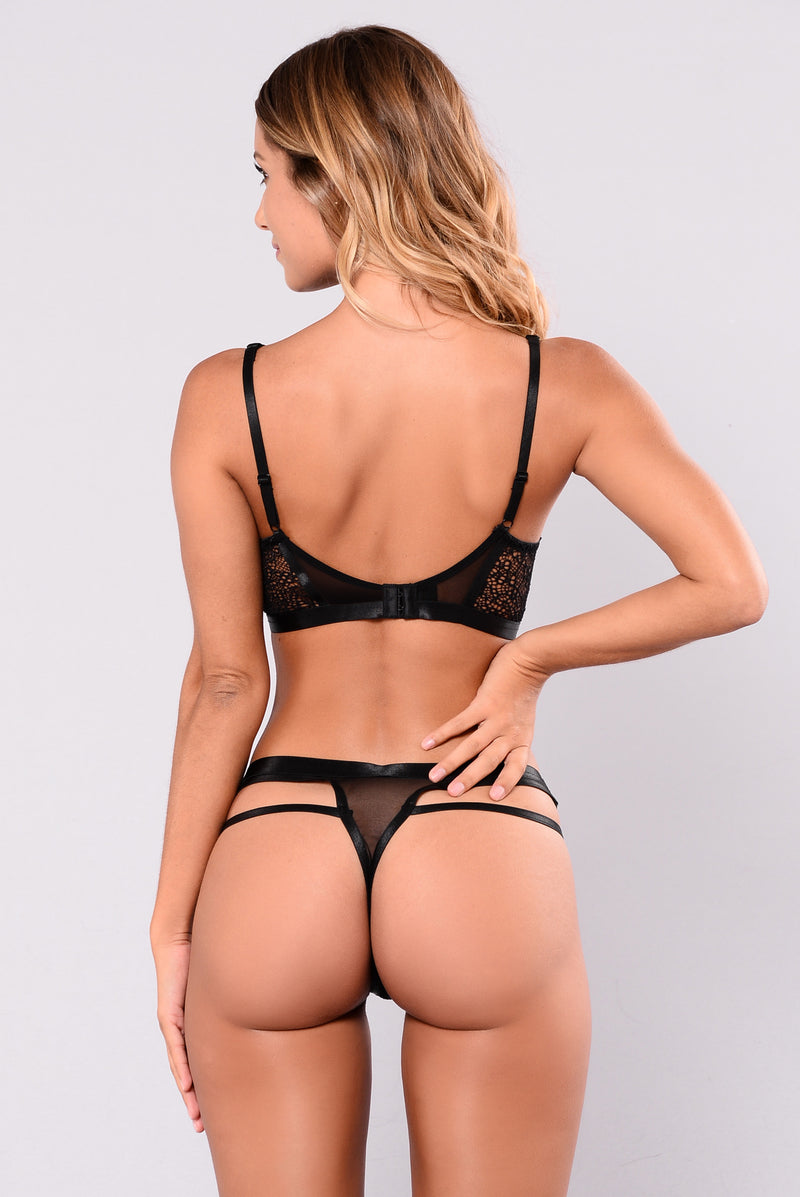 You Are What I Need Bra & Thong - Black