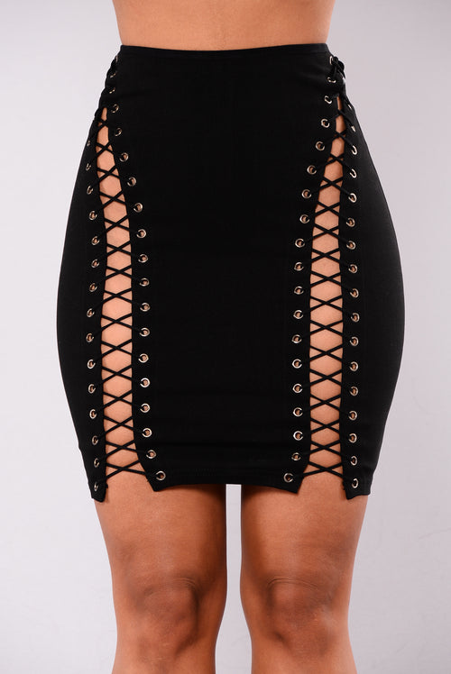 Camden Lace Up Skirt - Black