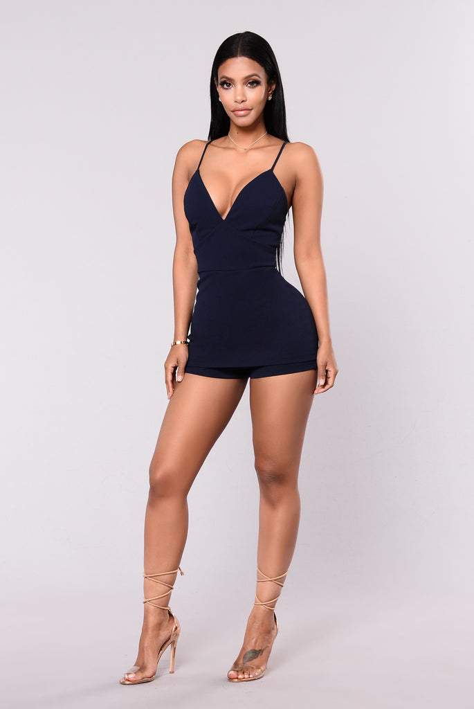 Your Voice Is My Favorite Sound Romper - Navy