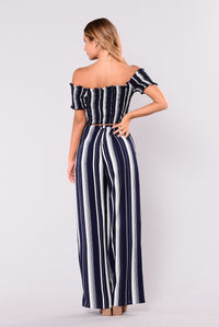 Never At Fault Jumpsuit - Navy Stripe