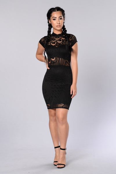 Lace Me Up Dress - Black