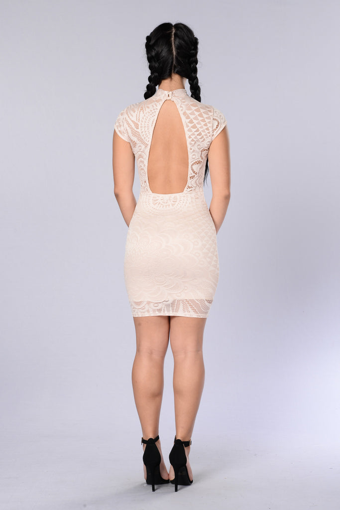 Lace Me Up Dress - Nude