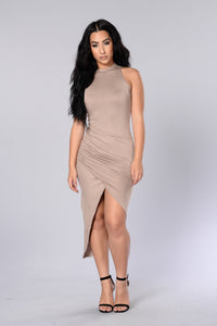 Too Much To Handle Dress - Light Taupe Angle 1