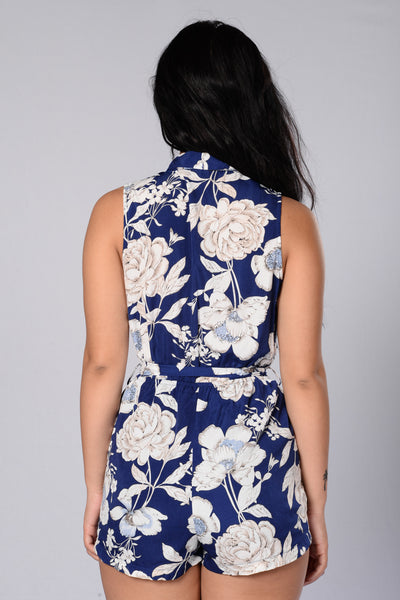 Pretty Bouquet Romper - Navy