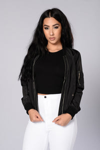 Two Timer Bomber Jacket - Black