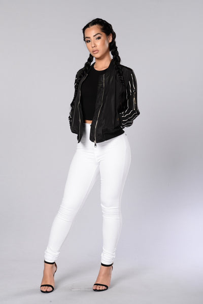 Batter Up Bomber Jacket - Black