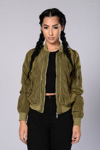 Two Timer Bomber Jacket - Olive Angle 1