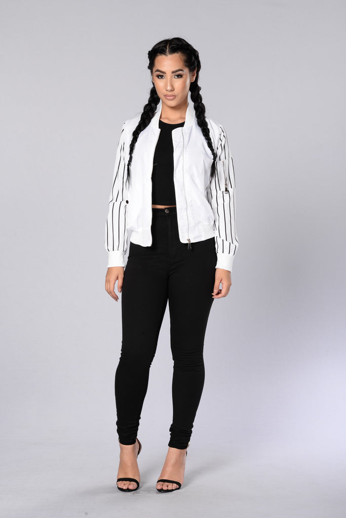 Batter Up Bomber Jacket - White