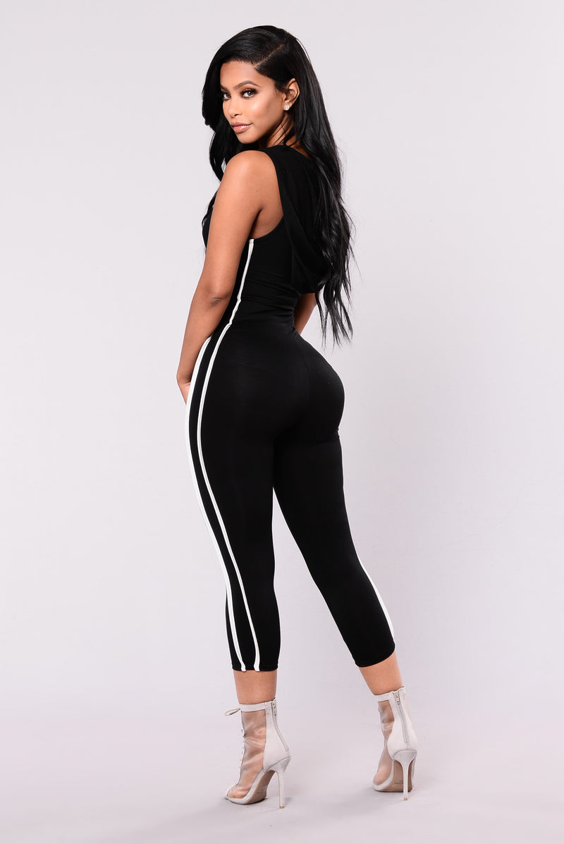 Jump On Me Jumpsuit - Black/White