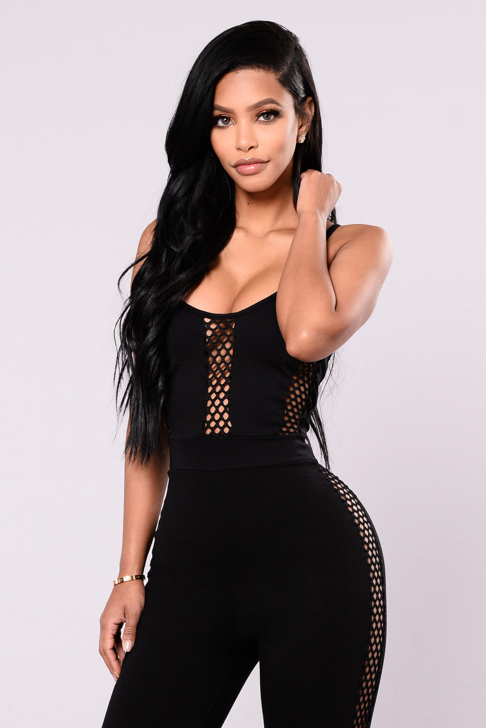 Cat Woman Mesh Jumpsuit - Black