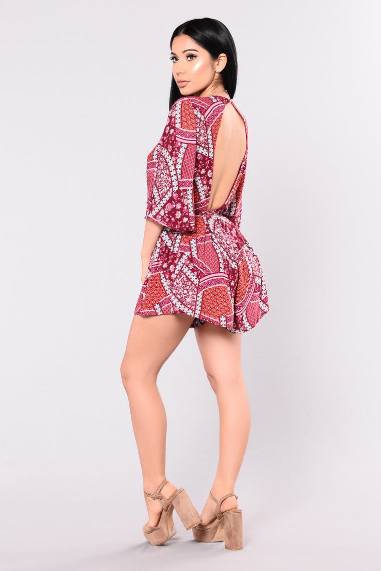 Wet And Wild Romper - Burgundy