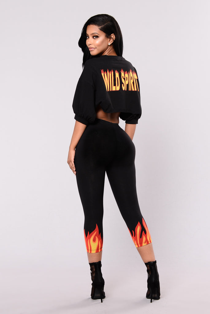 Catch My Fire Capri Legging - Black