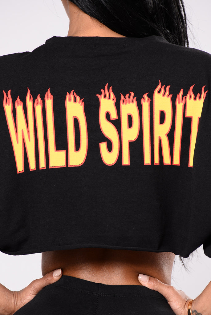 Flaming Hot Cropped Sweatshirt - Black