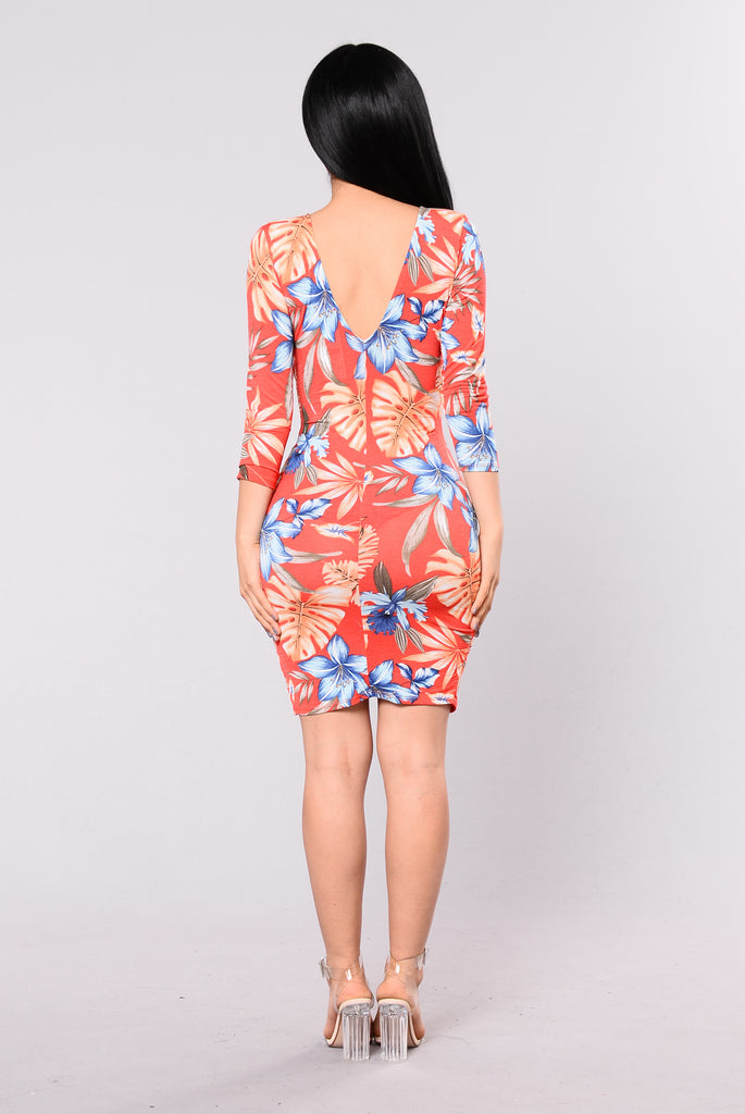 Solitude Floral Dress - Tomato