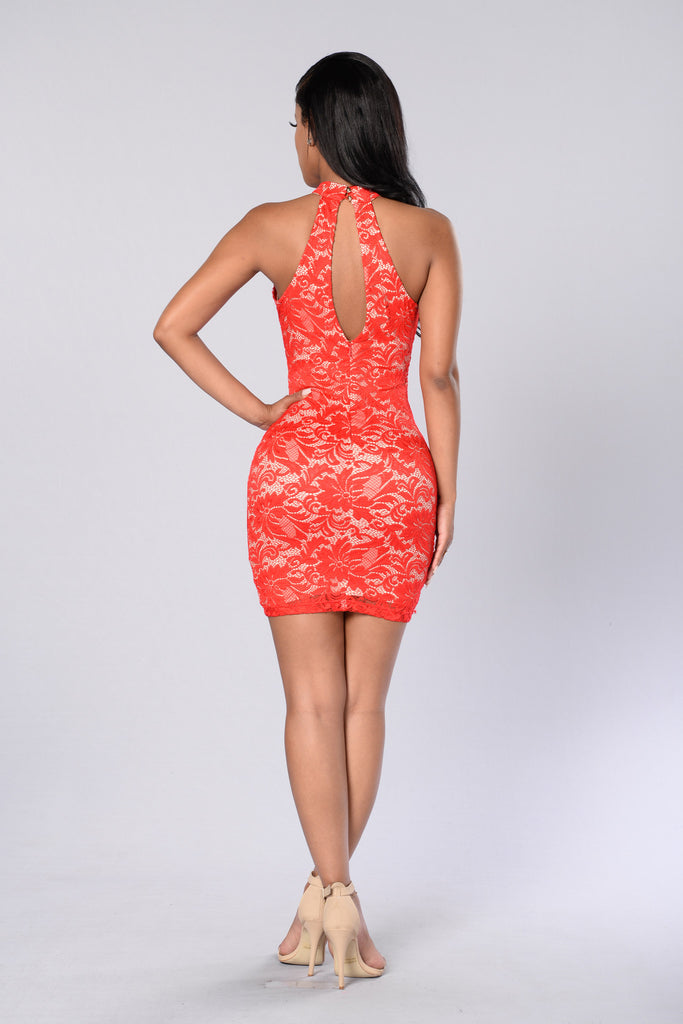 One Night Dress - Red/Nude