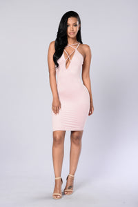 Strap Me Up Dress - Dark Pink Angle 1