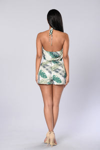 Oasis Romper - Green/Ivory